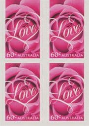 Australian Stamps 2014 SG4129 Special Occasions 2014: Romance self-adhesive Roses from booklet (exSB463) block of 4